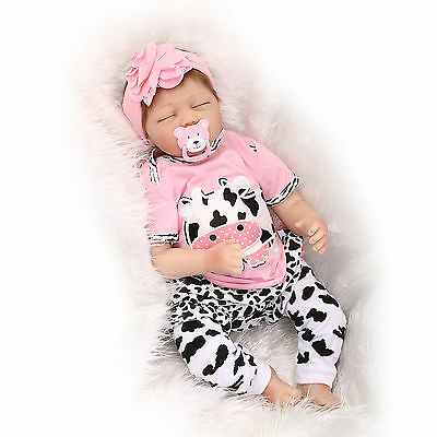 "22"" Real Lifelike Soft Silicone Reborn Doll Baby Girl Sleeping Newborn Dolls"