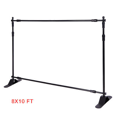 Step and Repeat 8'x10' Banner Stand Adjustable TelescopicTrade Show Backdrop USA