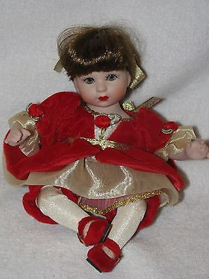 "9"" Marie Osmond Precious Tiny Tots Porcelain Doll 2001 In Red Velvet Dress"