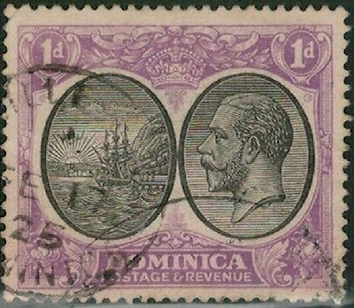 Lot 4017 - Dominica - 1923 - 1d black and violet King George V used stamp