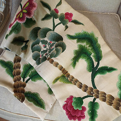 Antique English Crewel Work Embroidery Needlework Flowers Pelmet Panel