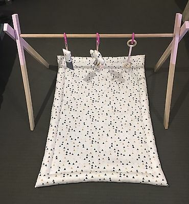 Hand Made Wooden Baby Play Gym With Reversible Mat And Toys