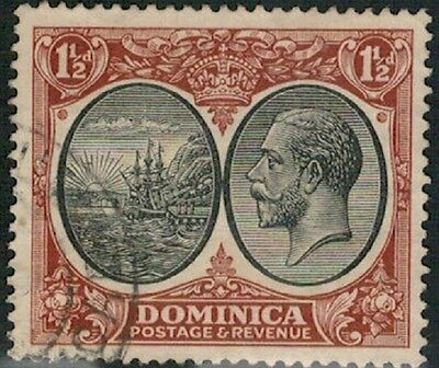 Lot 4019 - Dominica - 1923 - 1½d black and brown King George V used stamp