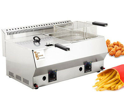 TB Stainless Steel Propan Gas Commercial Countertop Deep Fryer Propane LPG 16Lt