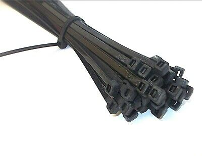 Black cable ties plastic strong nylon zip electrical wire wrap tidy various size