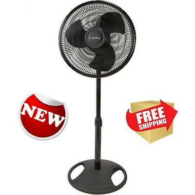 "Lasko 16"" Pedestal Fan Black Home Indoor Room Office Air Cooling Portable New"