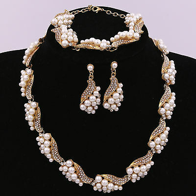 Crystal Rhinestone Pearl Necklace Pendant Earrings Bracelet Jewelry Set Prom New
