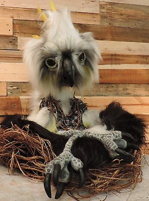 Sulphur-Crested Cockatoo giant fully poseable handmade gothic art doll sculpture