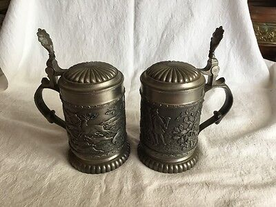 A Pair Of Antique Pewter Lidded Tankards, Guetezeichen, W. Germany