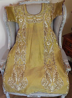 Antique Religious Dalmatic Front Panel  Church Vestment Gold Metallic Embroidery