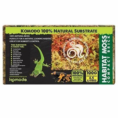 Komodo Habitat Moss Compact Brick 100g Frogs Snails Reptiles Plants