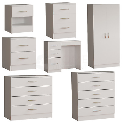 Riano Bedroom Furniture White Wood Dressing Table Drawer Chest Storage Unit