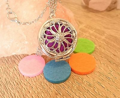 FLORAL FLOWER Essential OIL Diffuser 5 Pads Pendant Silver Necklace LOCKET Pouch