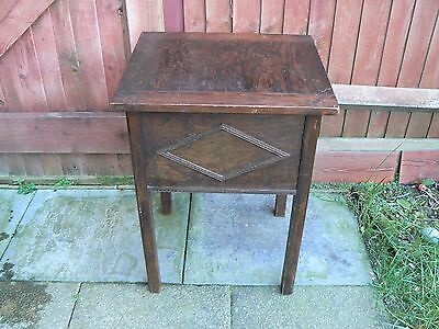 Antique Side Table with Compartment Solid Wood