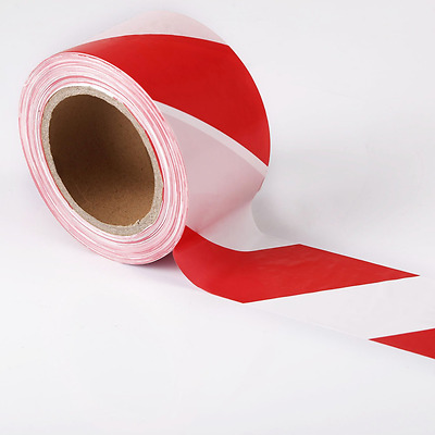 Warning Barrier Tape Safety Line Non Adhesive Red & White Polyethene 200m X 70mm