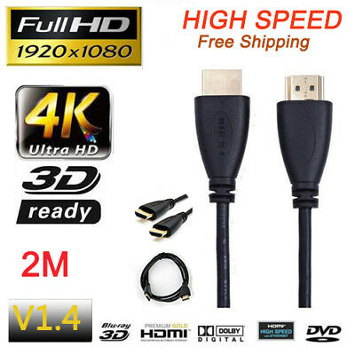 Premium HDMI Cable 2M 6.56ft 4K Ultra HD For BLURAY 3D 1080P HDTV PS3 XBOX TV