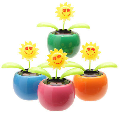 One Smiley Happy Sunflower Solar Powered Novelty Plant Pot Colours Vary
