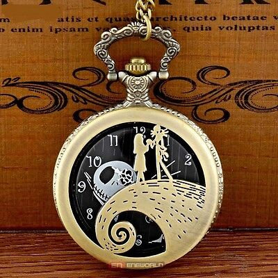 Nightmare Before Christmas Jack & Sally Bronze Pocket Watch Pendant + Necklace