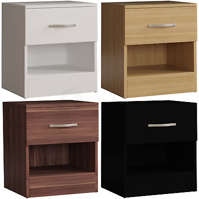 Riano 1 Drawer Chest Bedside Cabinet Wood Bedroom Furniture Storage Unit