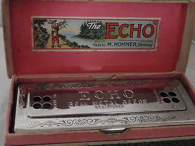 60s HOHNER Vintage German DOUBLE SIDED HARMONICA THE ECHO HARP 54/64 M2 C/G