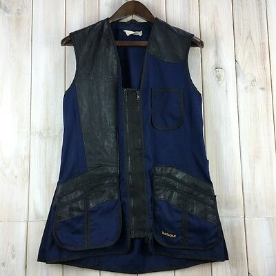 Rare Vintage Barbour International Leather Cotton Mix Vest Gilet Waistcoat S / M