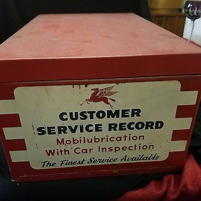 Rare Vintage Pegasus Gas Service Station CUSTOMER SERVICE RECORD Metal Box Sign