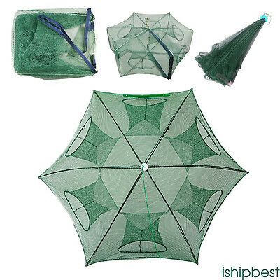 Foldable Crab Net Trap Cast Dip Cage Fishing Bait Fish Crawfish Shrimp Useful