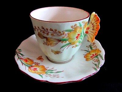 Japanese Footed Hand Painted Yellow Butterfly Handle Mint Green Cup And Saucer
