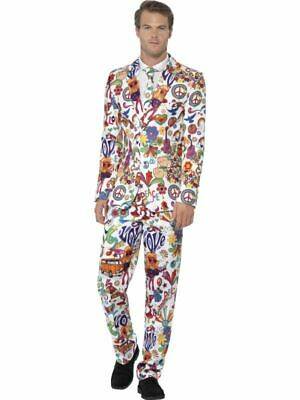 Mens Stand Out Suit 60s 70s Groovy Hippie Symbols Stag Do Festival Fancy Dress