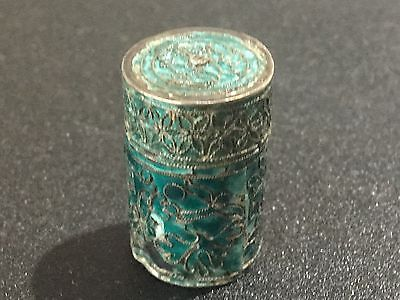 Chinese Enamel Sterling Silver Pill Box