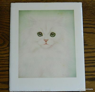 Stunning White Persian Kitty CAT Green Eyes Unframed Print 8 x 10 Still Sealed!