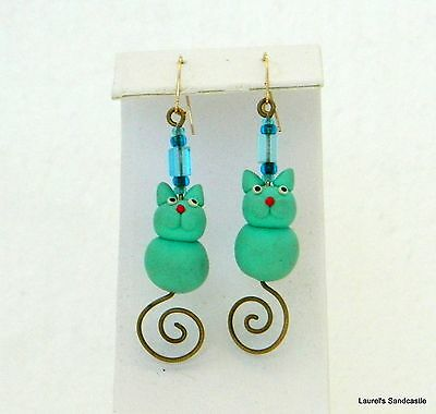Kitty Cat Poly Clay Turquoise & Gold Tone Pierced Earrings