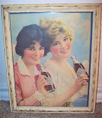 Vintage 11x9 Coca-Cola Framed Print Ad Ladies Drinking Coke SS Diamond Bottle