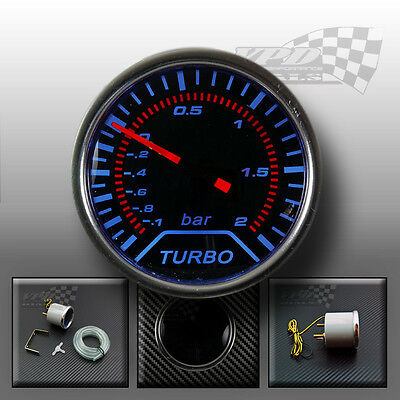 "Boost gauge 2"" 52mm smoked dial face Blue led interior dash panel (Bar)"