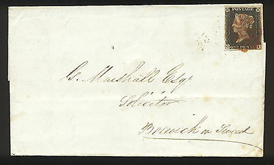 1840 Great Britain Penny Black #1 First Regular Postage Stamp on Letter with Wax