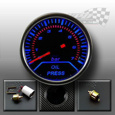 "Oil pressure gauge 2"" 52mm smoked dial face interior dash custom lighting bulb"