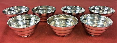Set Of 7 Bowls. Silver  Martelé. Punched. Jewelery Mercader. Spain. Circa 1930