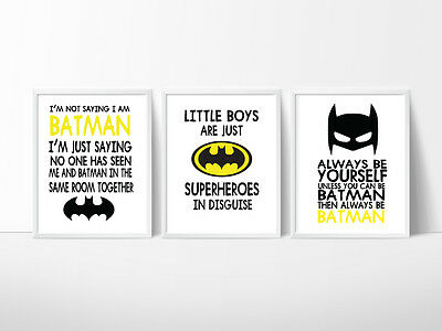 Batman Nursery Print, Kids Wall Decor, Batman, Superman, Captain America