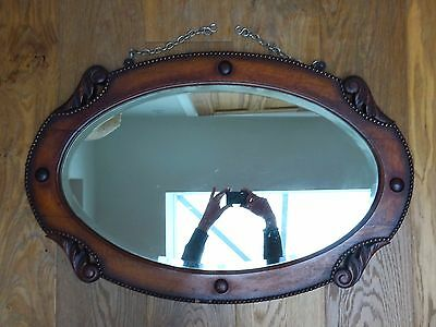 Stunning  Carved Oak Oval Bevelled Edge Wall Mirror & Chain Wooden Antique