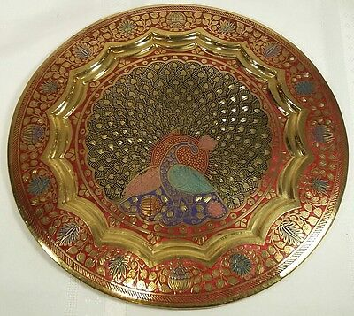 """Mid Century Brass 9.5"""" Tray/Wall Plate with Peacock and Flowers Enamelled India"""