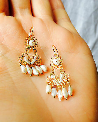 Vintage Oaxacan Gold Filigree Earrings with Pearls. 10k. Mexico. Frida Kahlo