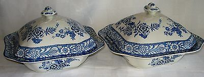 Pair Of Wood & Sons (Wincanton) Square Covered Vegetable Dishes (England)