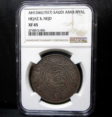 1927 Saudi Arabia 1 Riyal ✪ Ngc Xf-45 ✪ Ah1346 Hejaz & Nejd L@@k Now ◢Trusted◣