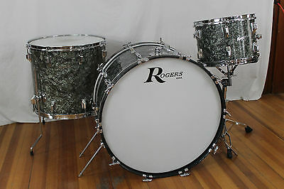 "Vintage 60's Rogers 24,13,18 Kit. ""Black Diamond Pearl"""