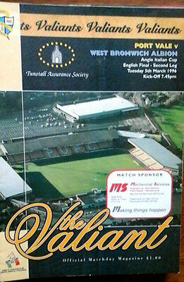 Port Vale V West Brom 5/3/1996 Anglo Italian Cup Final