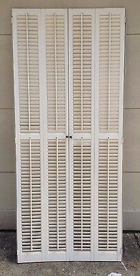 "72"" TALL X 31.25"" W VTG Colonial Wood Interior Louver Plantation Window Shutters"