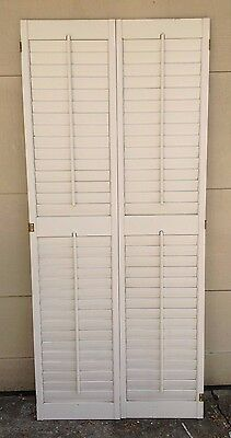 "73"" T X 32"" W VTG Colonial Wood Interior Louver Plantation Window Shutters"