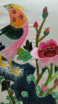 Vintage Chinese hand embroidered silk peice.  Picture framed.  Very old.