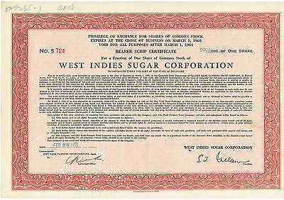 West Indies Sugar Corporation Common Stock Certificate