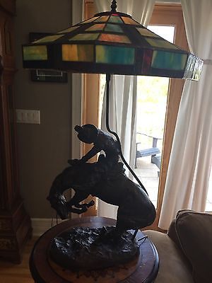 "Beautiful 32"" tall frederick remington bronze reproduction ""rattlesnake"" lamp"